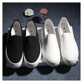 黑白色懶人鞋女夏帆布鞋一腳蹬學生板鞋布鞋套腳厚底樂福鞋小白鞋