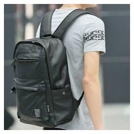 潮流男士PU皮雙肩包男包包高中學生書包電腦旅行女式背包