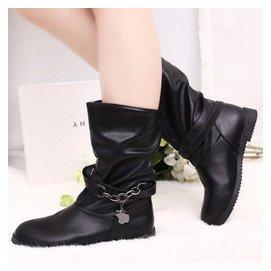 春秋中筒靴內增高女式中靴子厚底平底皮靴單靴 學生英倫馬丁靴