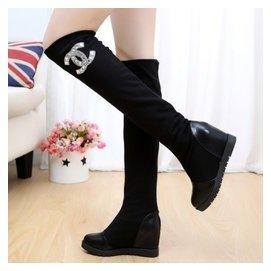 秋鼕平底內增高長筒靴過膝彈力靴長靴水鑽多穿單靴子女靴顯瘦腿靴