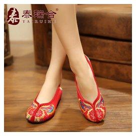 泰瑞合 民族風內增高繡花鞋 老北京布鞋 紅色新娘鞋結婚鞋女鞋