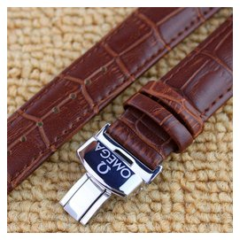 手表帶 男真皮 蝴蝶扣真皮表帶男女手表 黑棕色皮帶18 20 22mm