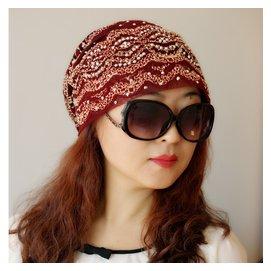 包郵堆堆帽子女  春夏秋 頭巾帽 包頭帽蕾絲亮鑽化療帽回族帽