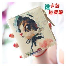 2016 日韓錢包女短款 兩折學生拉鏈 可愛 塗鴉超薄零錢包女