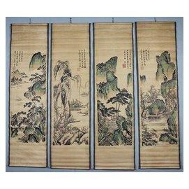 古畫國畫山水人物畫仿古花鳥字畫客廳掛畫四條屏 唐新山水