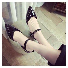 2016 拖鞋 潮流鞋環一字搭扣尖頭平底平跟包頭鉚釘
