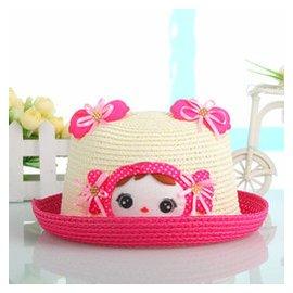 2015 兒童草帽 卡通 遮陽盆帽 寶寶可愛沙灘帽子女童帽0198 玫瑰紅色 1~3歲