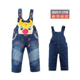 2015春夏裝 嬰兒寶寶兒童背帶長褲男女童小童牛仔長褲2~3~4歲 1035 牛仔色 中號