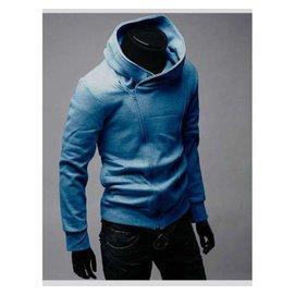 2014秋款 英倫風 男士薄款斜拉鏈連帽衛衣 修身青年 衛衣秋裝外套男裝 牛仔藍 3
