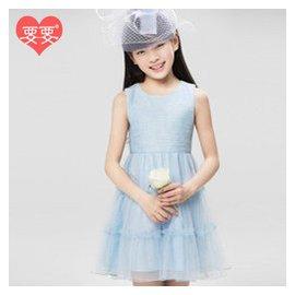 要要旗艦店 女童裙子夏裝公主裙2015 大童紗裙韓國演出裙兒童無袖連衣裙 淺藍色 150