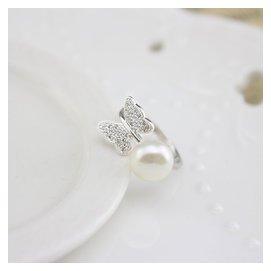 925純銀鍍白金天然淡水珍珠蝴蝶鑲鑽日韓開口不褪色女戒指環食指