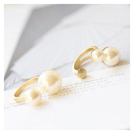 韓國 精致高檔2015年 走秀款單雙環珍珠開口戒指指環