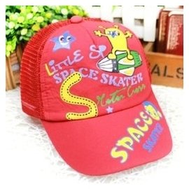 夏天寶寶棒球帽小孩兒童鴨舌帽子 男童女童網眼遮陽帽潮款0195 紅色 均碼50左右繫帶