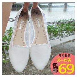 大碼女鞋40 43 42平底平跟網紗小白鞋尖頭大號女單鞋41~43春秋
