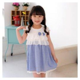 瀾洋貝貝2015 潮款女童連衣裙子 雪紡公主裙 裙兒童禮服童裙 藍色 140