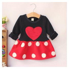 包郵 女寶寶加絨加厚連衣裙嬰兒長袖打底裙子0~1~2~3歲圓點
