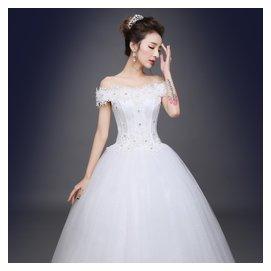 婚紗禮服2016新復古婚紗一字肩婚紗綁帶婚紗修身婚紗宮廷婚紗