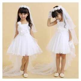 兒童舞蹈表演服女童公主裙拖尾蓬蓬紗裙花童白色婚紗禮服走秀演出