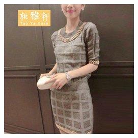 桃雅軒 2014  針織金色珠珠裝飾上衣 包裙套裝女 5116 短袖灰色 均碼