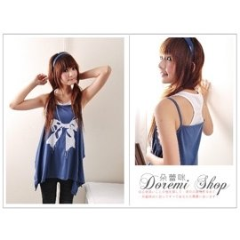 DS51001~4兩件式無袖細帶挖背背心不規則下擺寬鬆大蝴蝶結長版上衣^(藍^)~朵蕾咪~