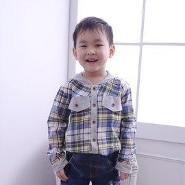 YA13001 男童格紋拼接連帽襯衫 可當小外套 薄款  ~朵蕾咪Do Re Mi~ ~