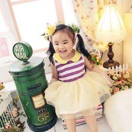 36019020 中大童^~撞色拼接紫色條紋澎澎無袖娃娃領小洋裝連身裙 ~朵蕾咪Do Re