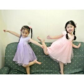JA019 中大童^~真珠蝴蝶結百摺雪紡小洋裝^~紫色.粉色 ~朵蕾咪Do Re Mi~