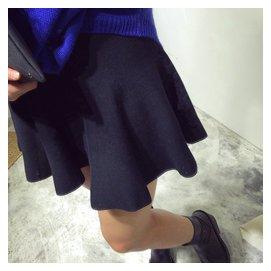 韓國 簡約基礎百搭顯瘦高腰針織半身裙小黑裙魚尾裙傘裙 女