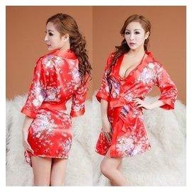 包郵日式印花開襟和服性感多件套裝 女情趣內衣文胸誘惑睡裙浴袍