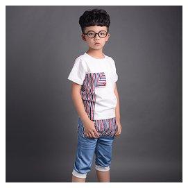 拇指魚兒童短袖 套裝男童T恤配牛仔七分褲 中大童兩件套