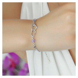 正品925純銀手鏈女 韓國復古情侶愛心鑽石水晶鍍白金飾品