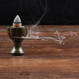 陶瓷釉面倒流香托 塔香倒流煙香座 檀香沈香線香盤香爐 香道擺件