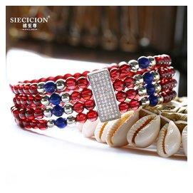 禧至尊 紅石榴石手鏈手串民族風多圈四圈水晶配青金鋯石首飾品