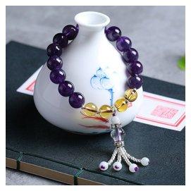 天然紫水晶手鏈烏拉圭紫晶單圈手串 黃水晶刻面白水晶景泰藍配飾