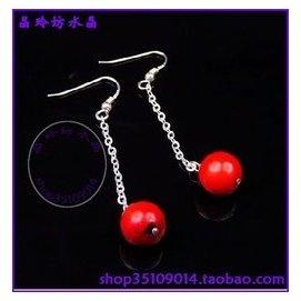 晶玲坊水晶925純銀紅珊瑚甜美可愛長款糖果耳環 1629