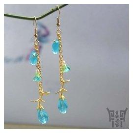 青銅世家藍水晶琉璃耳環耳飾耳墜古典 原創飾品