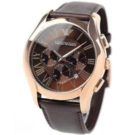 ~miqing~ EMPORIO ARMANI 亞曼尼手錶44mm 玫瑰金 三眼計時 皮帶