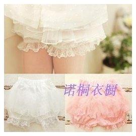女童短褲裙褲夏蓬蓬燈籠褲  雪紡公主範白色