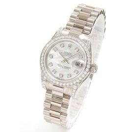 ^~好時計^~ 值得傳世~rolex勞力士女錶機械珠寶珍珠母貝白金