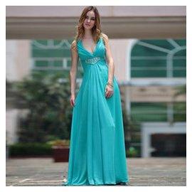 多麗琦綠色大碼晚禮服長款修身伴娘服 宴會舞會吊帶深禮服裙