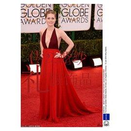 艾米亞當斯同款 明星禮服紅色掛脖長裙深露背雪紡裙長款晚裝