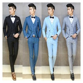西服套裝男修身結婚新郎青年職業純色 西裝伴郎婚禮禮服薄款秋