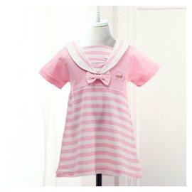 安嬰保 寶寶夏裝 女寶寶連衣裙嬰兒裙子公主裙女嬰幼兒短袖裙全棉212 淺紅色 100 ^(