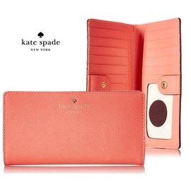 ~quali~KATE SPADE ^( 珊瑚橘粉紅色 ^) 防刮壓紋 真皮兩摺長夾