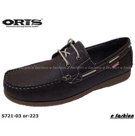 ~nsdoz~ORIS 女款深咖啡色豆豆大底鞋頭車縫綁帶真皮休閒鞋