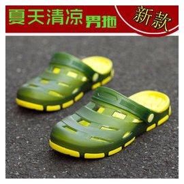 328 洞洞鞋男 潮流包頭 透氣厚底防滑涼拖鞋涼鞋大碼男涼鞋 墨綠色 42