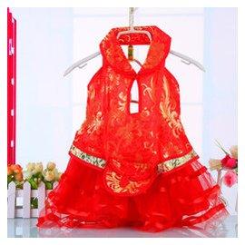 兒童禮服公主裙 女童花童禮服婚紗寶寶鋼琴演出服蓬蓬裙夏 新 紅色 100