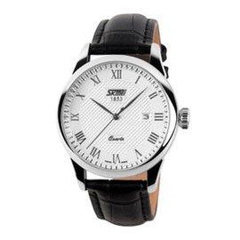 時刻美男士手表防水皮帶腕表 正品指針日歷 石英表情侶款男表女表 男款銀邊黑帶白面