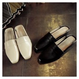 家春夏韓國 樂福鞋懶人半拖鞋復古文藝簡約真皮方頭鞋女