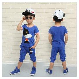 愛依童 兒童套裝男童夏裝史努比2~8歲80~120純棉卡通動漫短袖短褲221 藍色 120